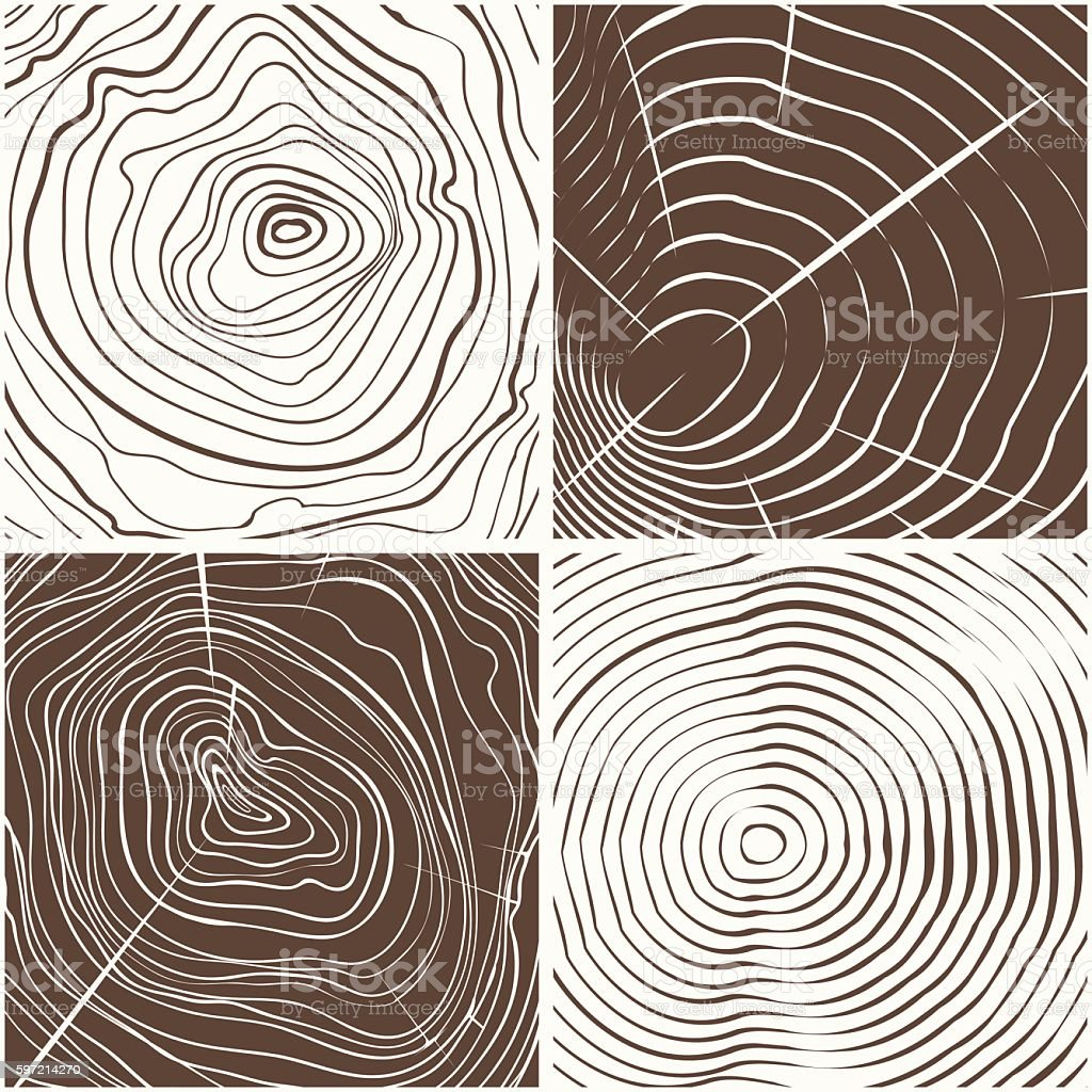 Wood rings texture background vector art illustration