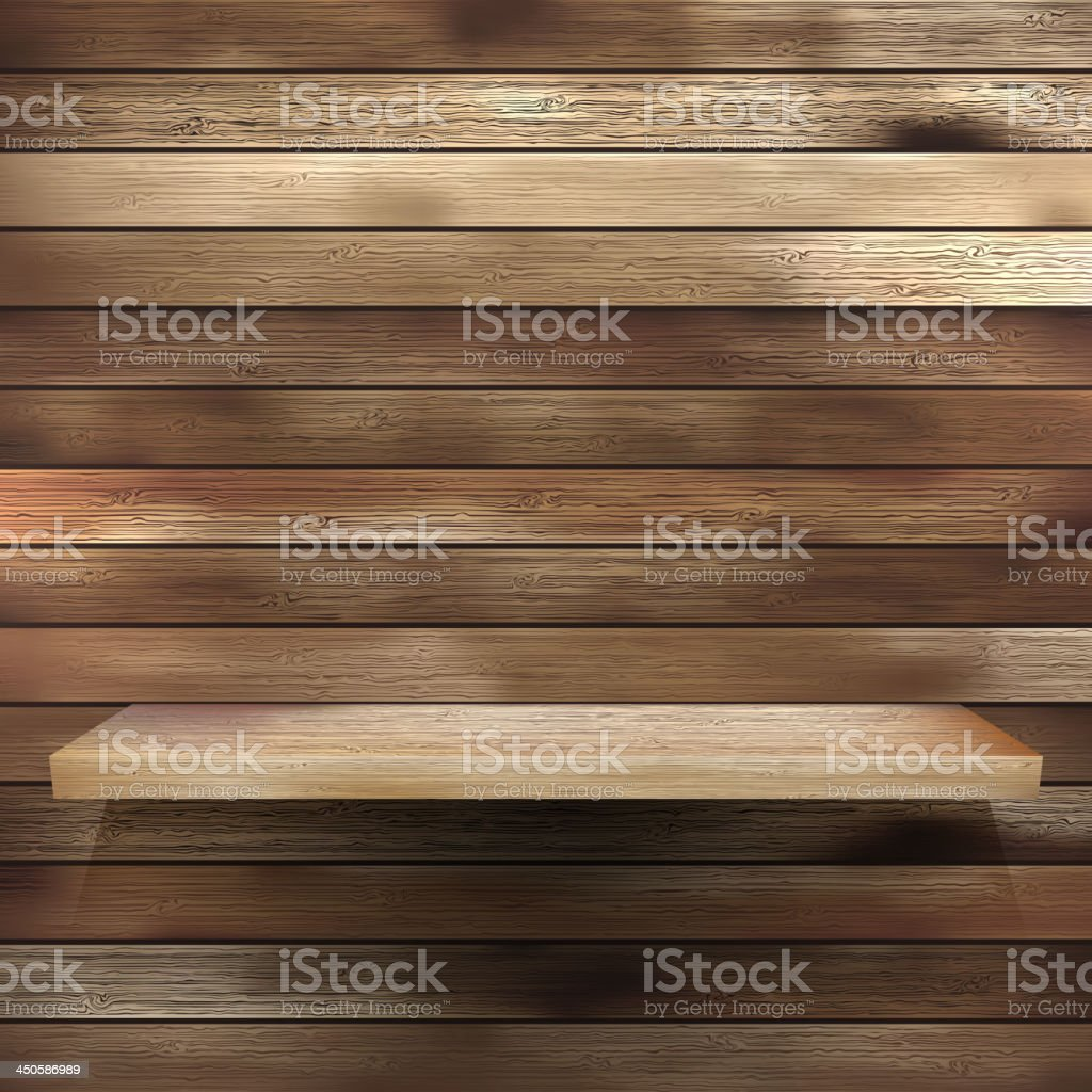 Wood shelf for exhibit. EPS 10 royalty-free stock vector art