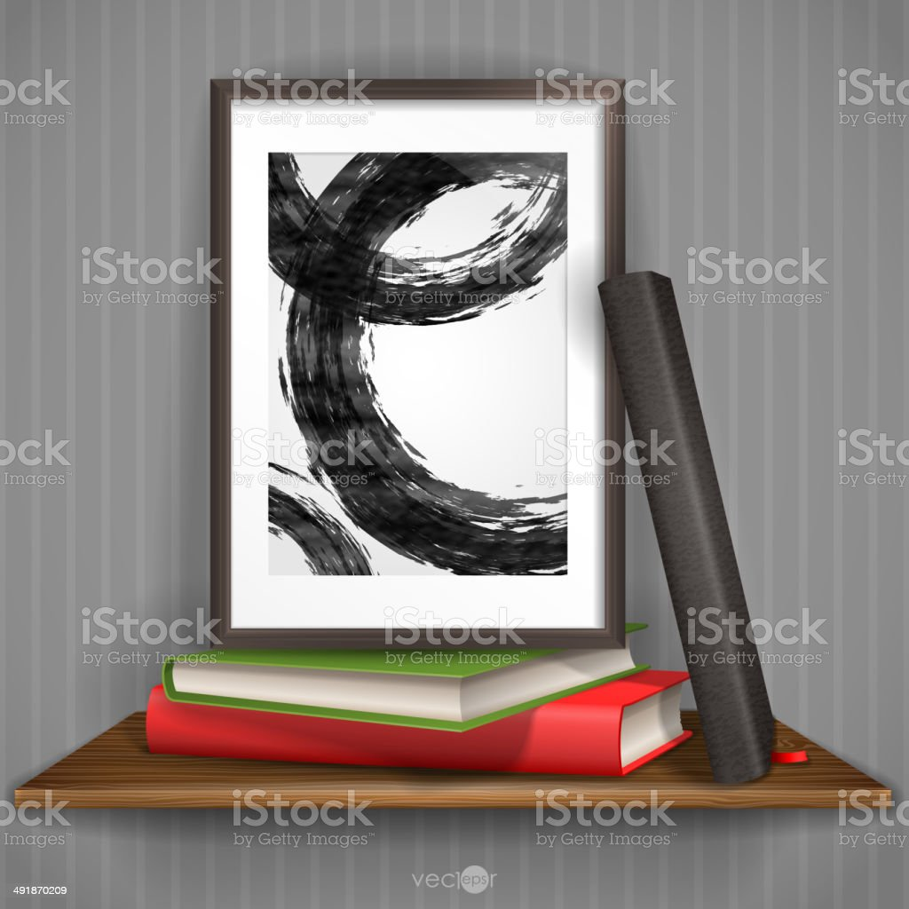 Wood Shelf With Photo Frame. royalty-free stock vector art