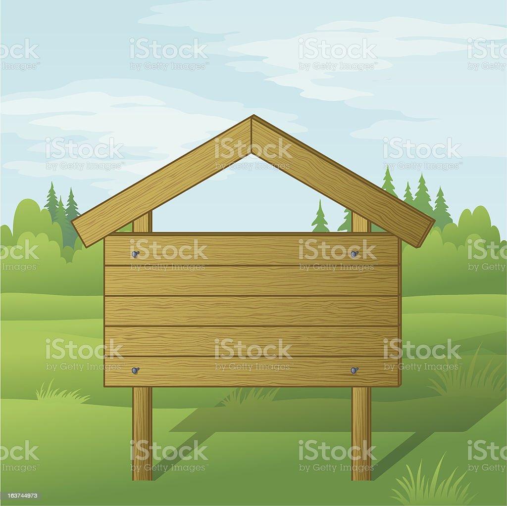 Wood sign on summer landscape royalty-free stock vector art