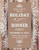 Wood Snowflake Christmas Dinner Invitation Template