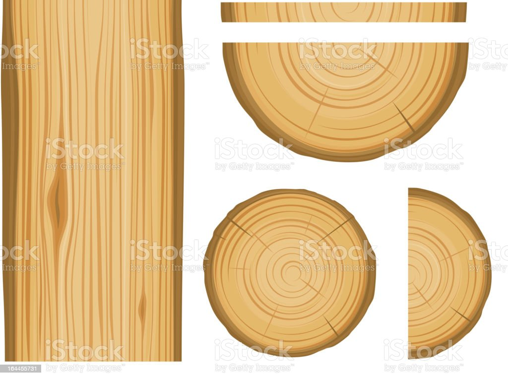 Wood texture and elements vector art illustration