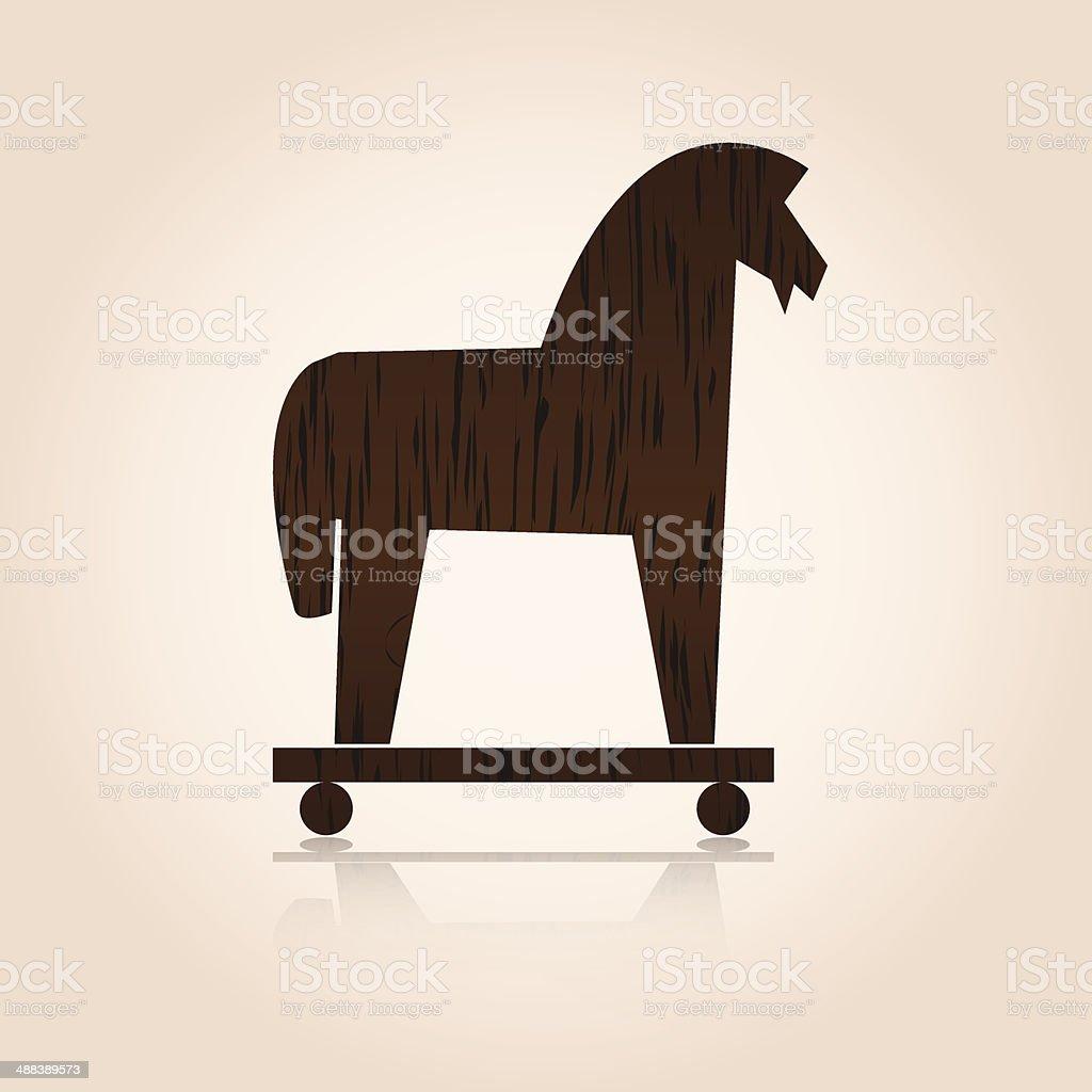 wood trojan horse eps10 vector art illustration
