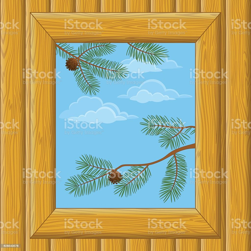 Wood Window with Pine Branches vector art illustration