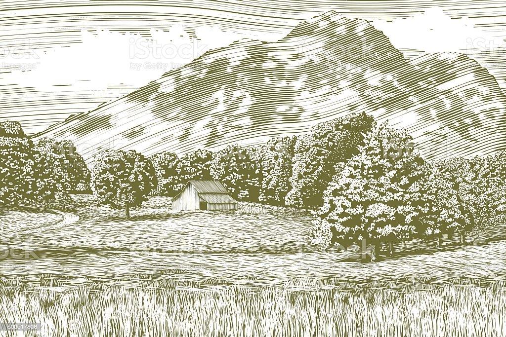 Woodcut Barn and Mountain Landscape vector art illustration