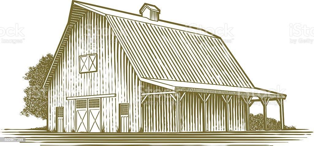 Woodcut Barn Icon vector art illustration