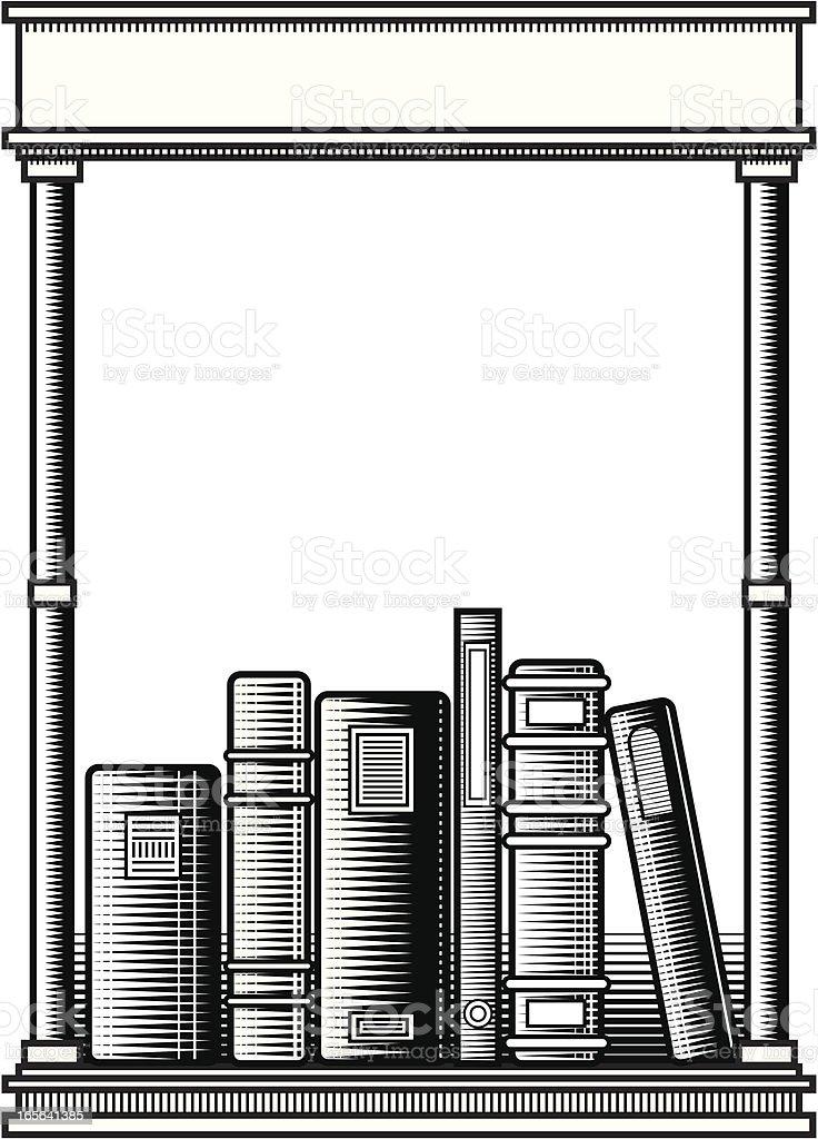 Woodcut Bookplate vector art illustration