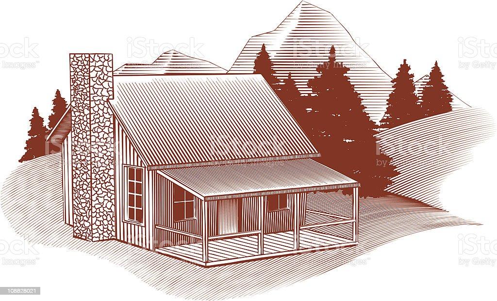 Woodcut Cabin Scene royalty-free stock vector art