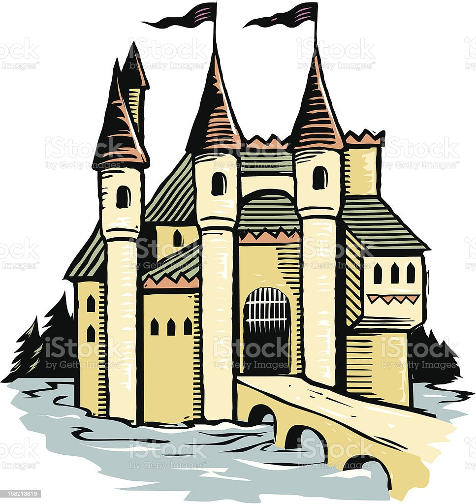 Woodcut Castle royalty-free stock vector art