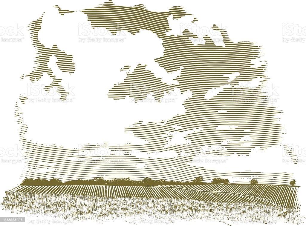 Woodcut Cloud Scene vector art illustration