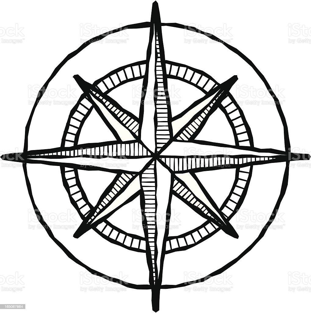 Woodcut compass rose royalty-free stock vector art