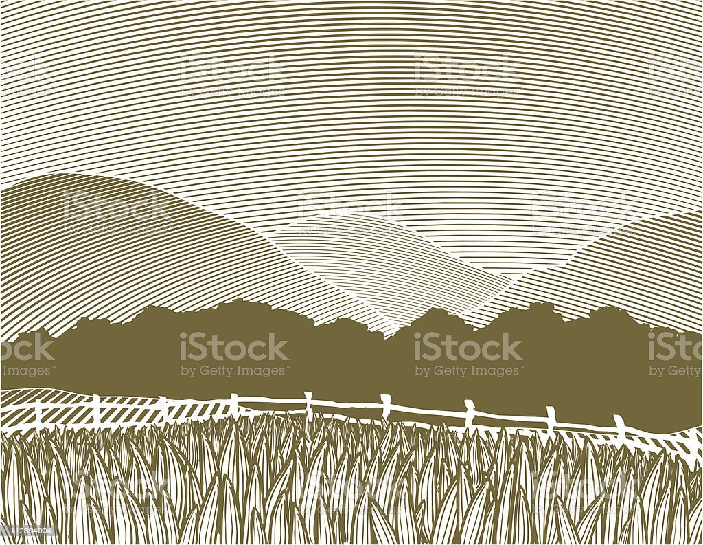 Woodcut Country Scene royalty-free stock vector art