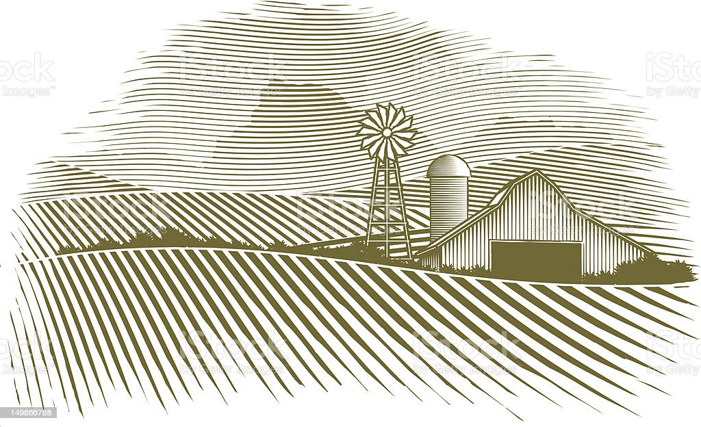 Woodcut Countryside vector art illustration