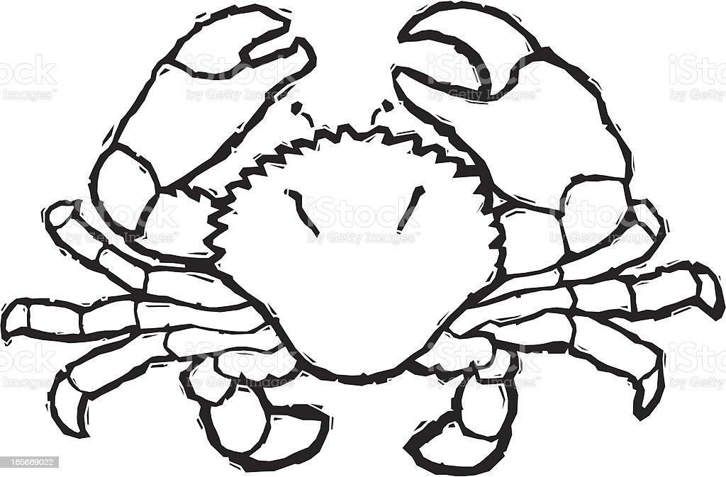Woodcut Crab vector art illustration