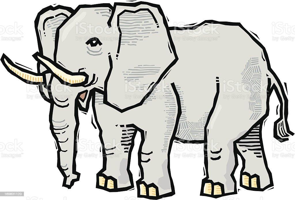 Woodcut Elephant vector art illustration