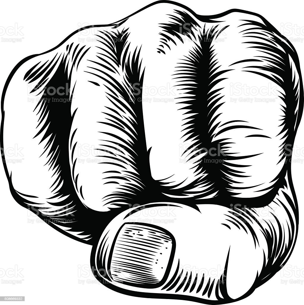 Woodcut Etching Fist Hand vector art illustration
