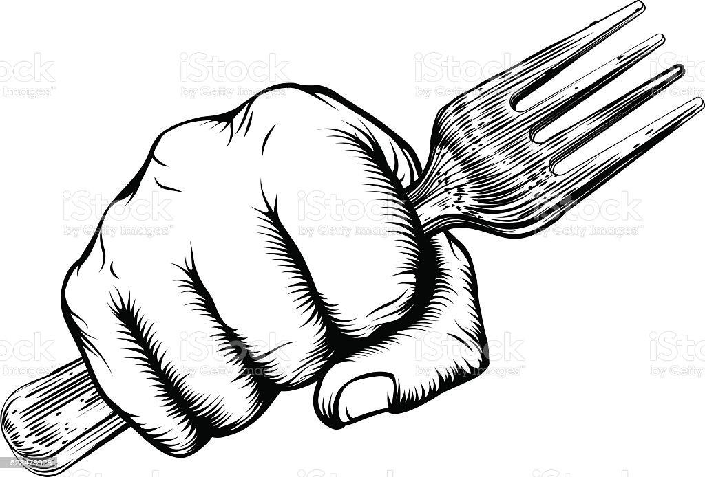 Woodcut Fist Hand Holding Fork vector art illustration