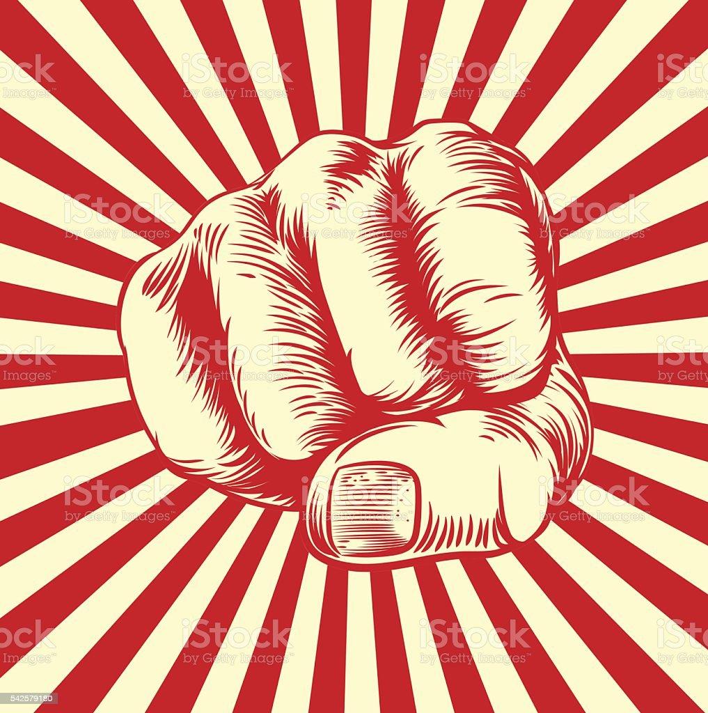 Woodcut Fist Hand vector art illustration