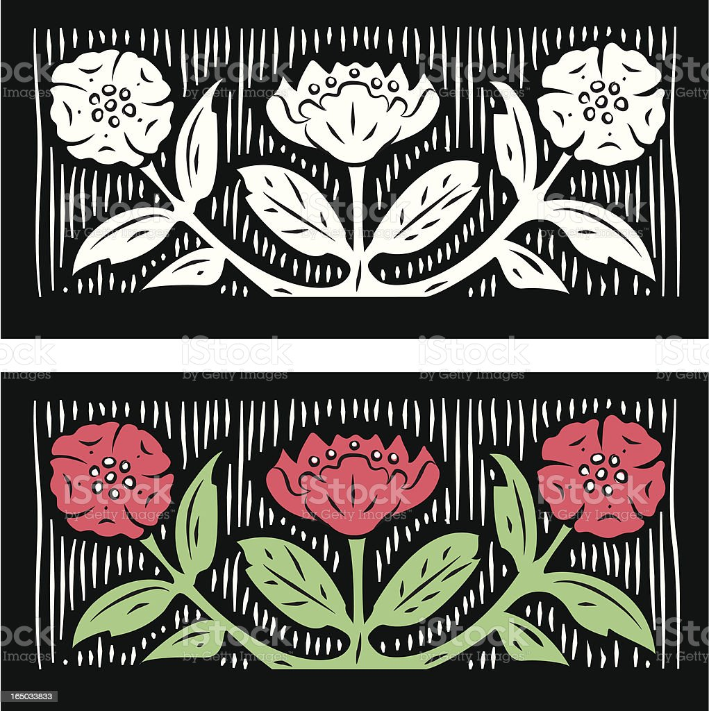 Woodcut Flowers royalty-free stock vector art