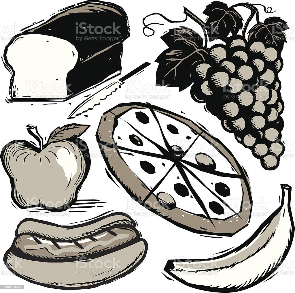 Woodcut Food royalty-free stock vector art