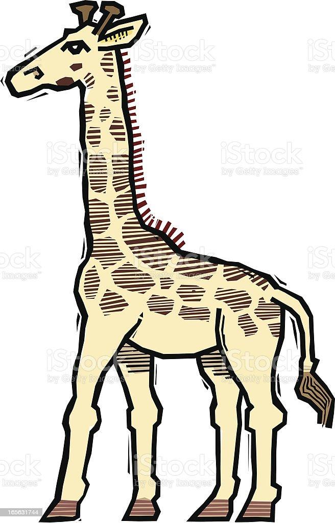 Woodcut Giraffe vector art illustration