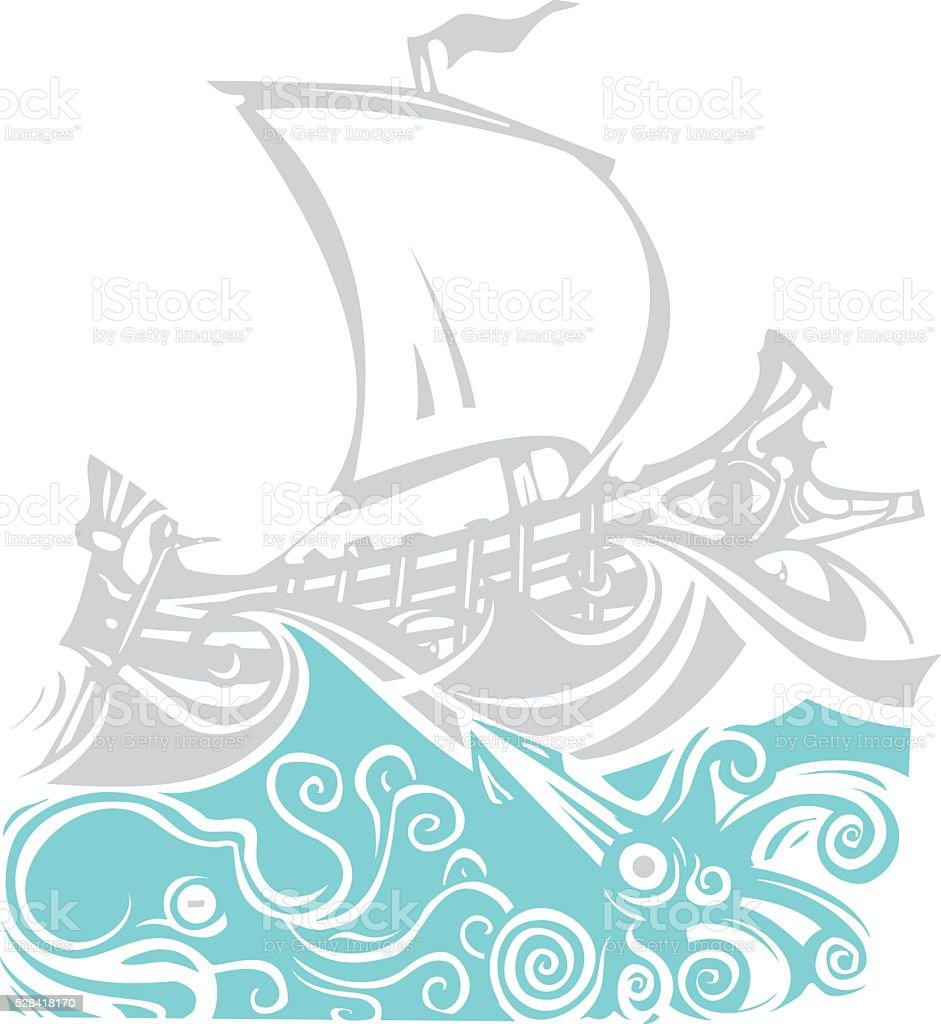 Woodcut Greek Galley Sea and Sea Life vector art illustration