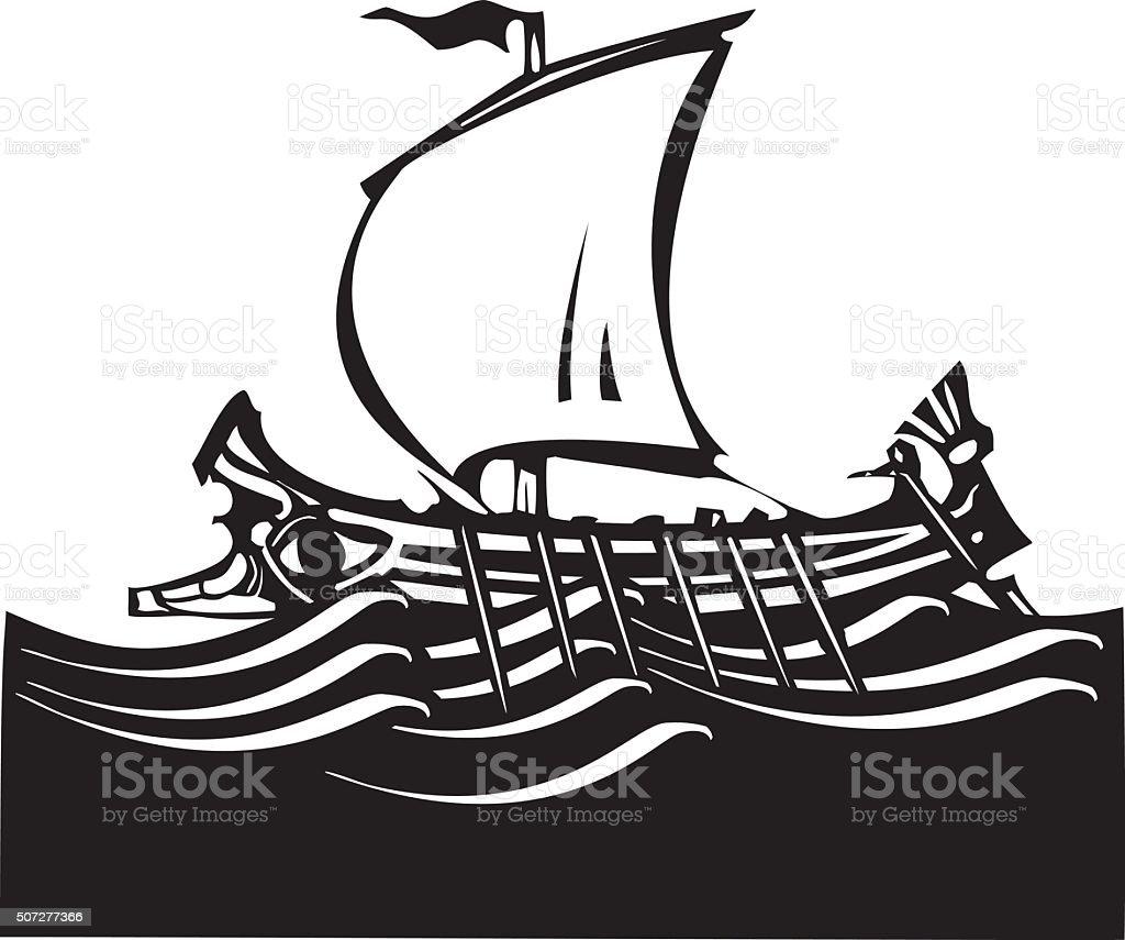 Woodcut Greek Galley Sea vector art illustration