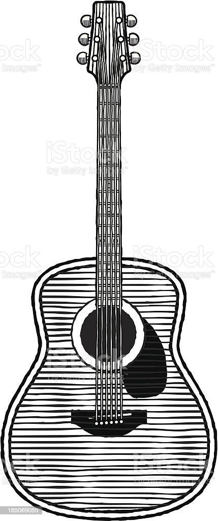 Woodcut guitar vector art illustration