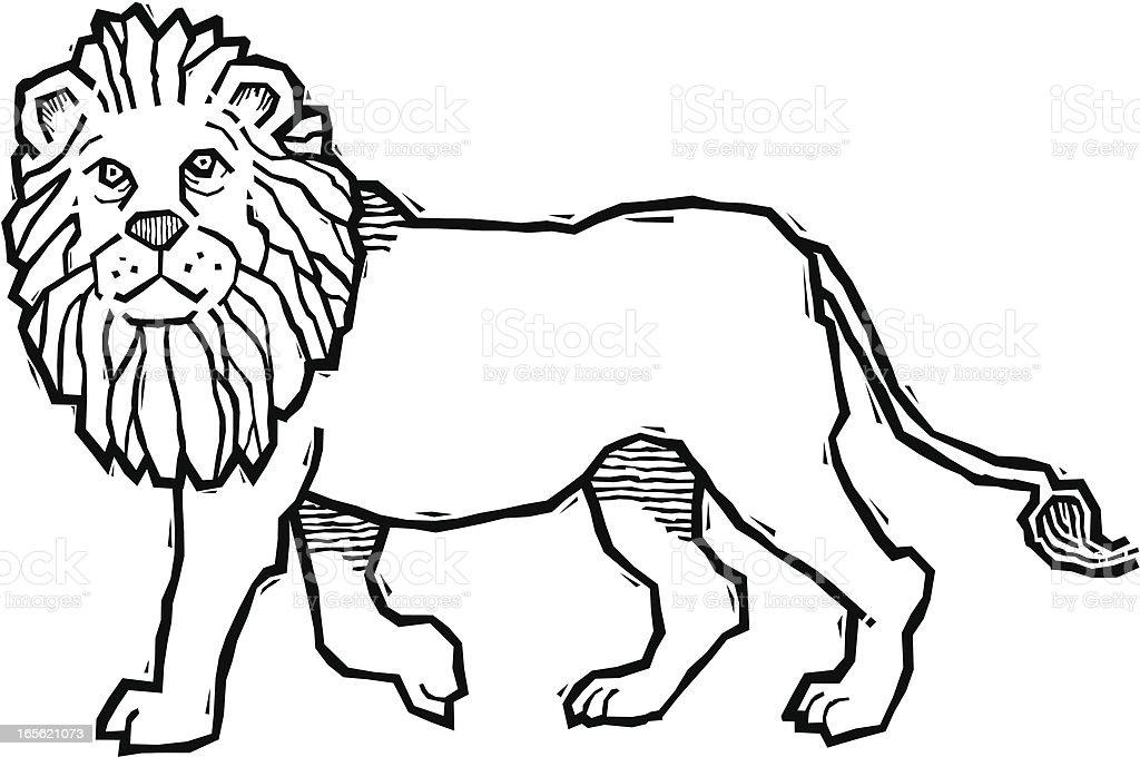 Woodcut Lion vector art illustration
