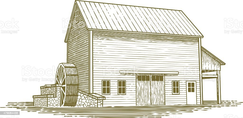Woodcut Mill Illustration vector art illustration