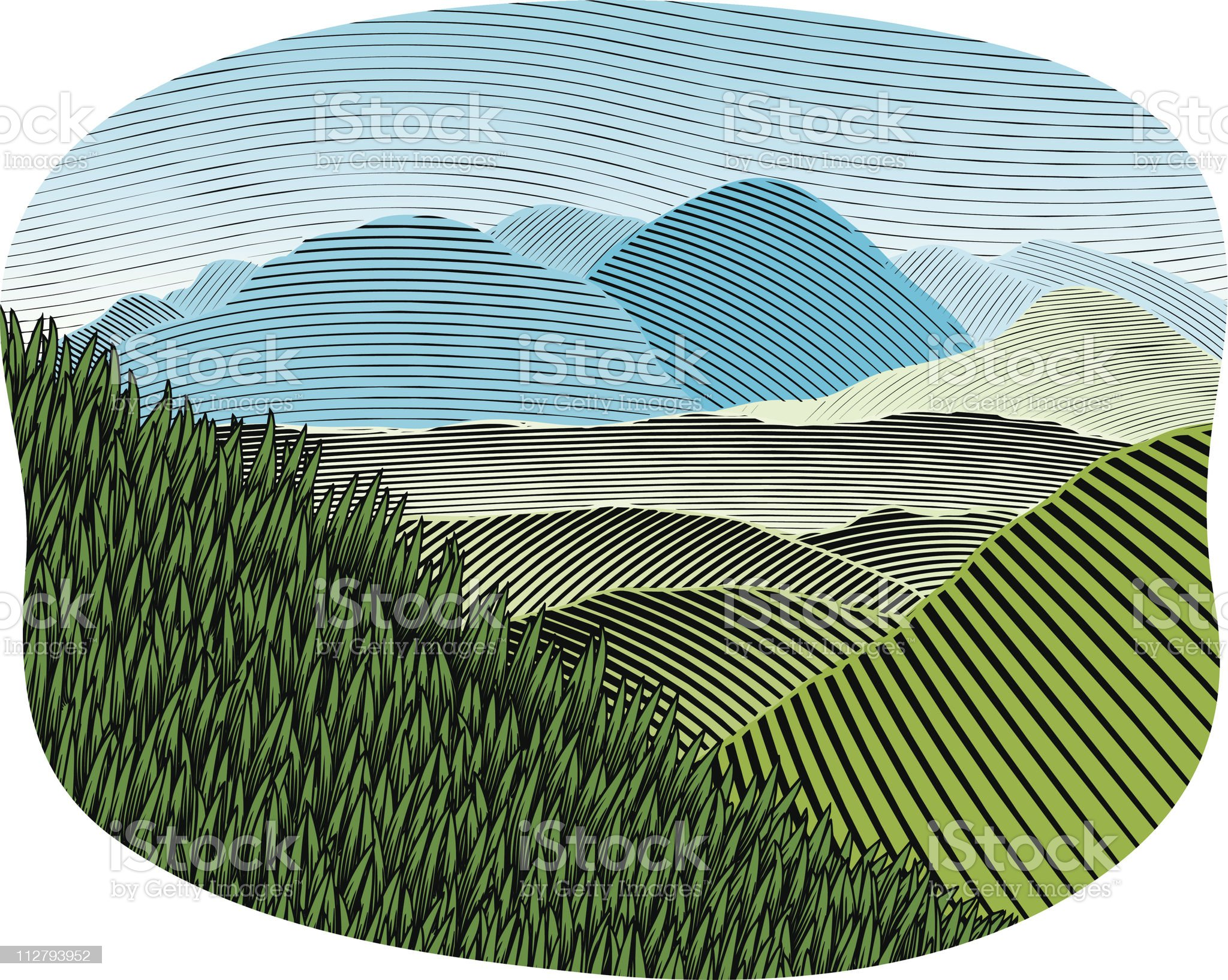 Woodcut Mountain Landscape Color royalty-free stock vector art