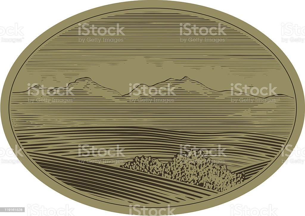 Woodcut Mountain Scene royalty-free stock vector art