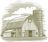 Woodcut Old Barn
