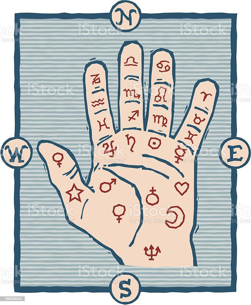 Woodcut Palmistry Hand vector art illustration