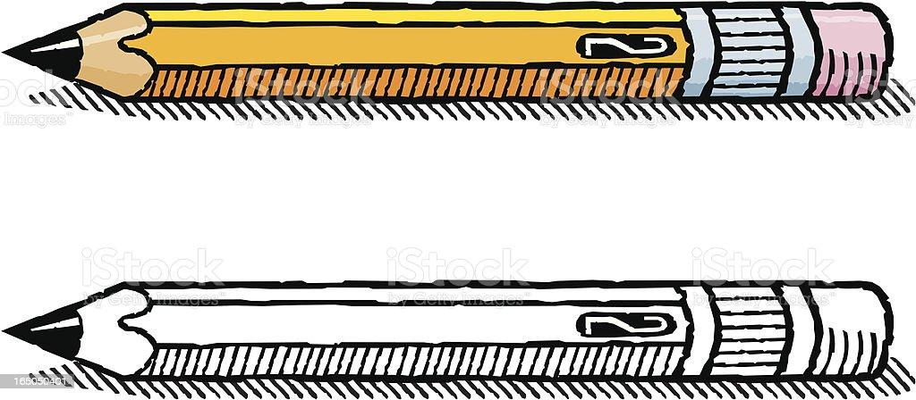 Woodcut pencil royalty-free stock vector art