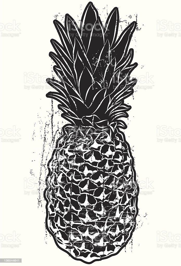 Woodcut pineapple royalty-free stock photo