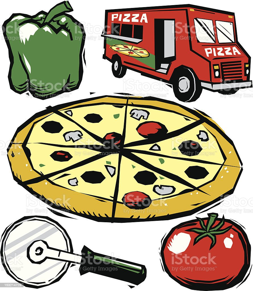 Woodcut Pizza Collection vector art illustration