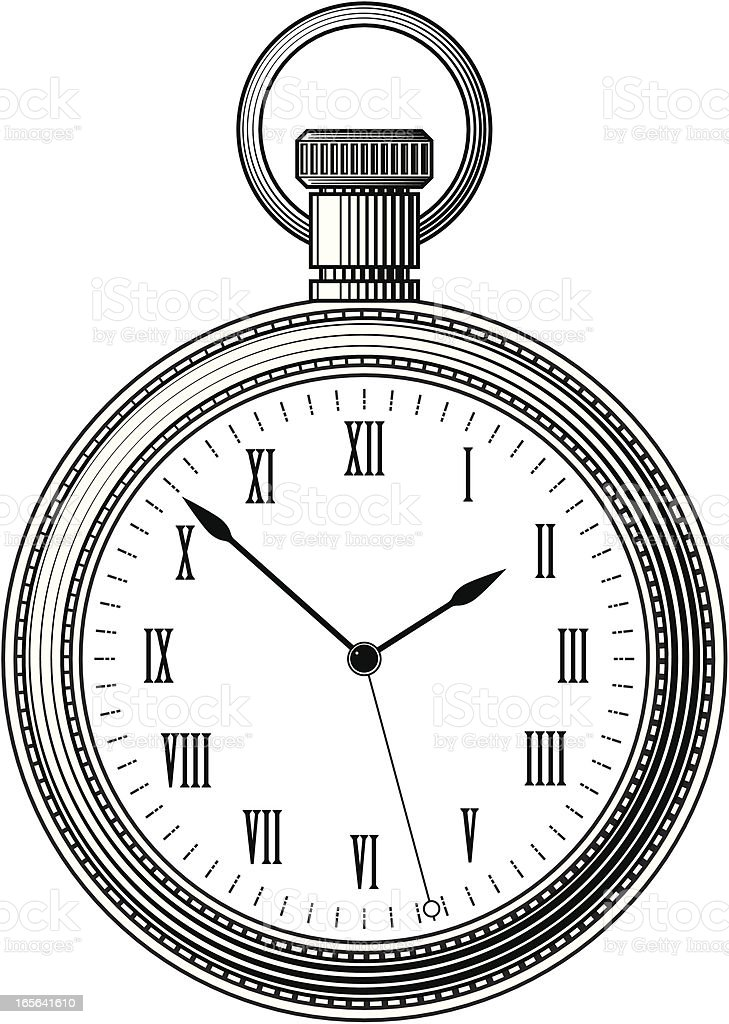 Woodcut Pocket Watch vector art illustration