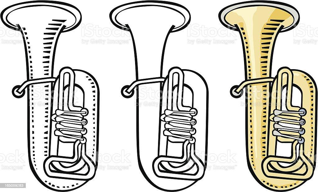 Woodcut tuba vector art illustration