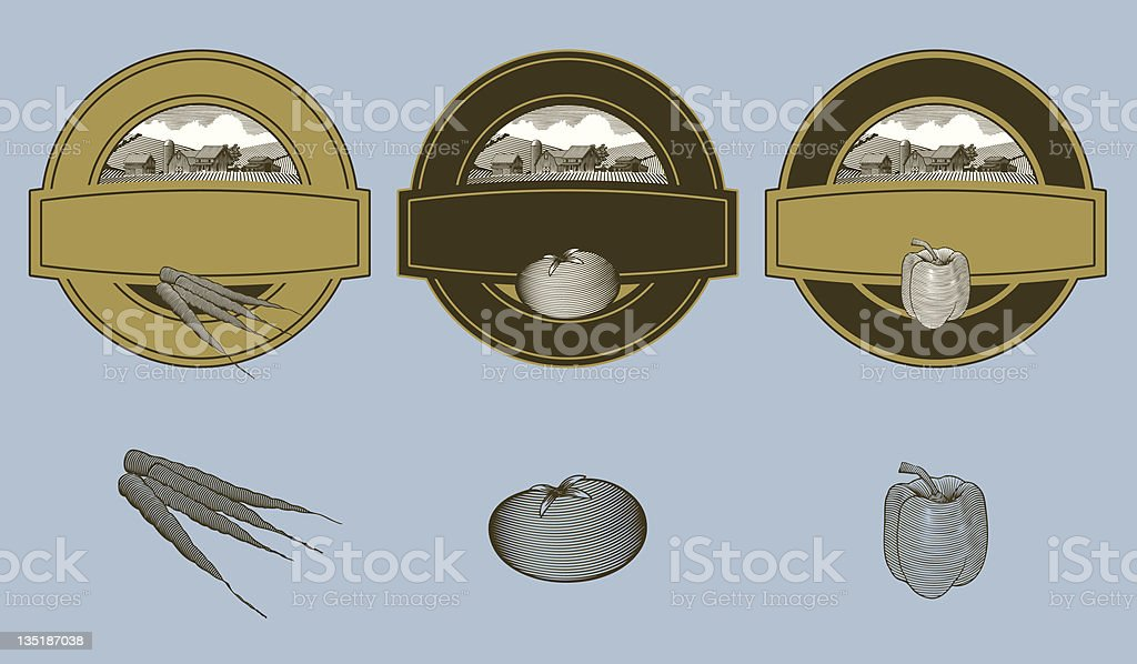 Woodcut Vegetable Labels stock photo