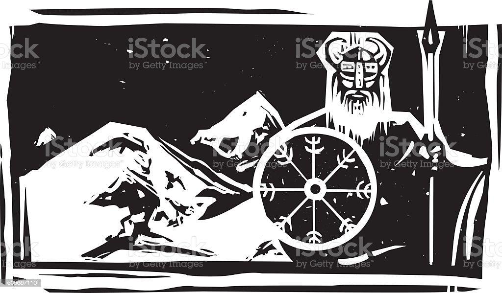 Woodcut Viking and Mountain vector art illustration