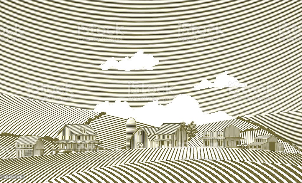 Woodcut Village vector art illustration