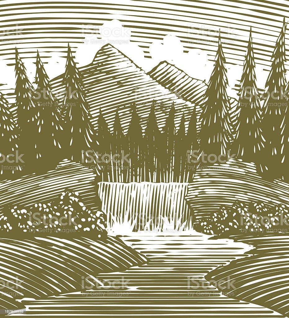 Woodcut Waterfall Wilderness vector art illustration