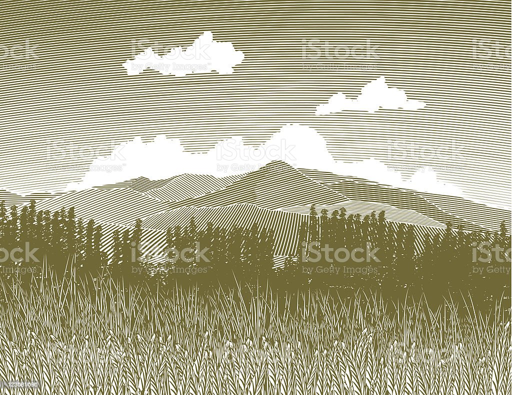 Woodcut Wilderness royalty-free stock vector art