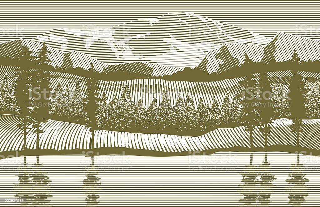 Woodcut Wilderness vector art illustration