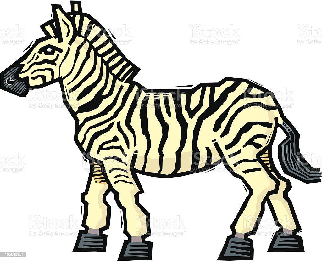 Woodcut Zebra vector art illustration