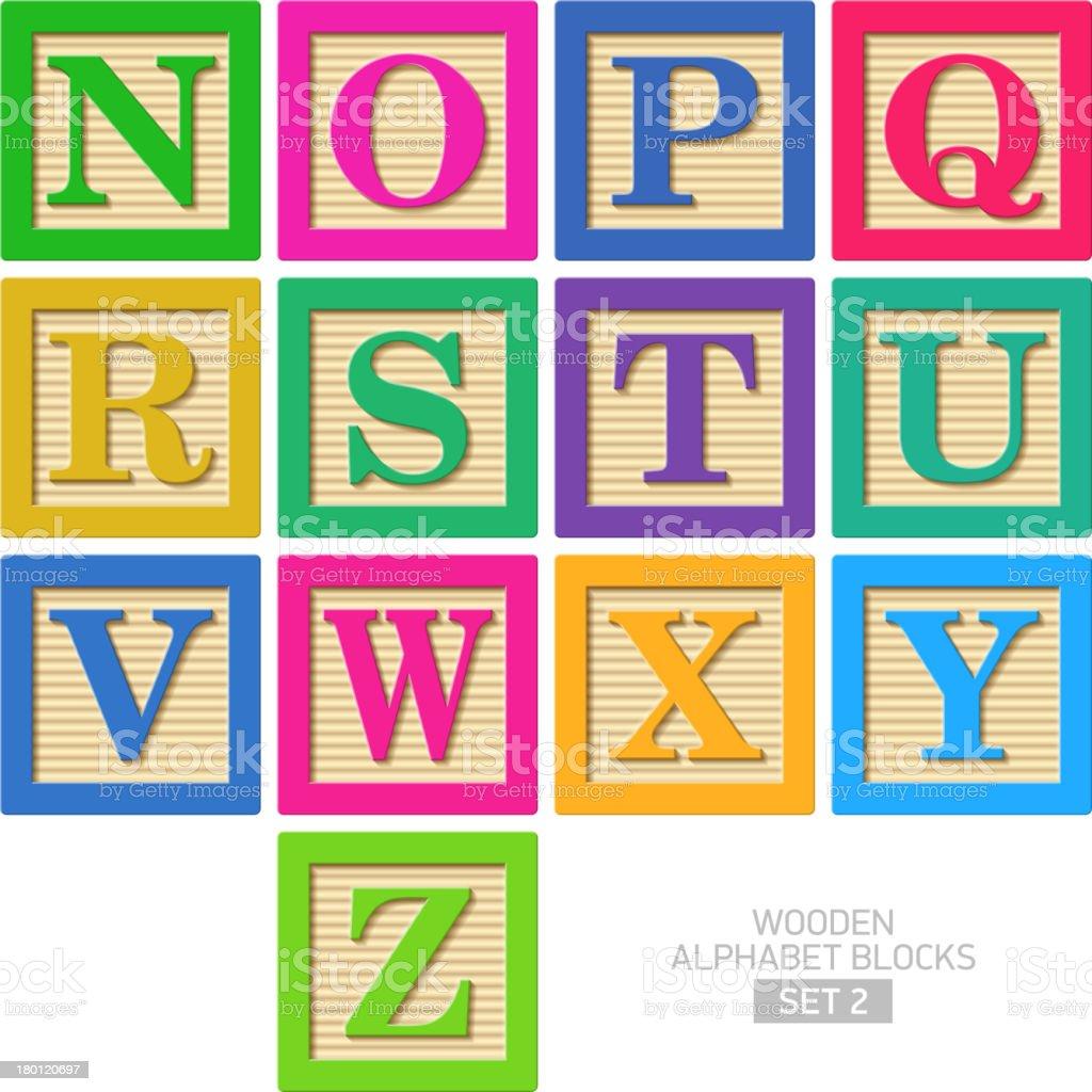 Wooden alphabet blocks royalty-free stock vector art