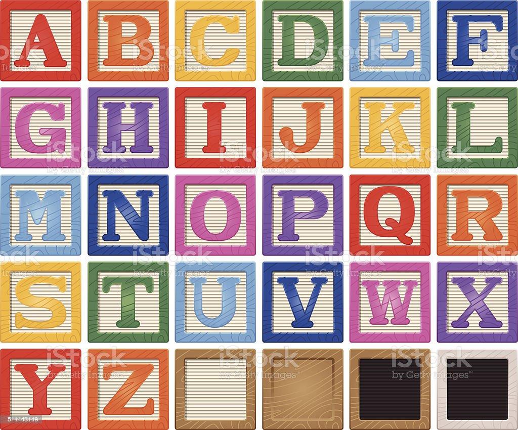 Wooden Alphabet Blocks vector art illustration