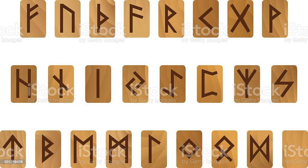 Wooden alphabet with ancient Old Norse runes Futhark Set of vector art illustration