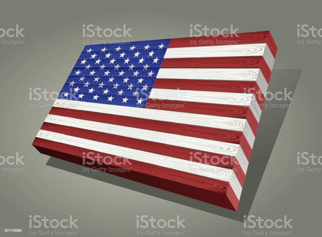 3D Wooden American Flag. royalty-free stock vector art